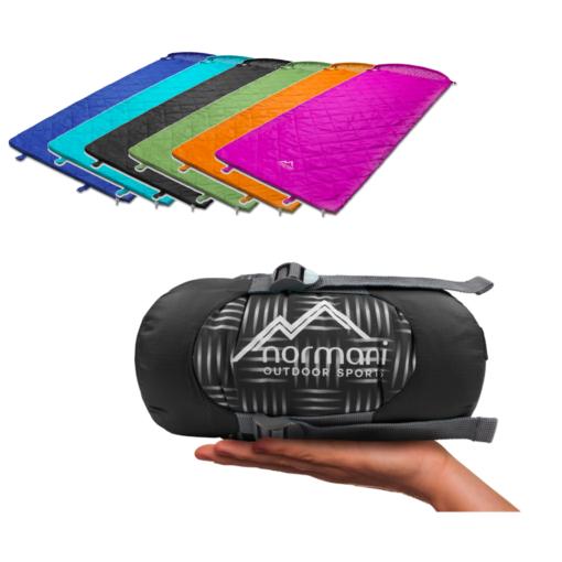 Ultralight-Schlafsack Normani Tinbo (6 Farben, Füllung aus Mikrofaser mit 20% Daunen, 16°/5°C, 10.000mm Wassersäule, Packmaß 12x21cm, 640g)
