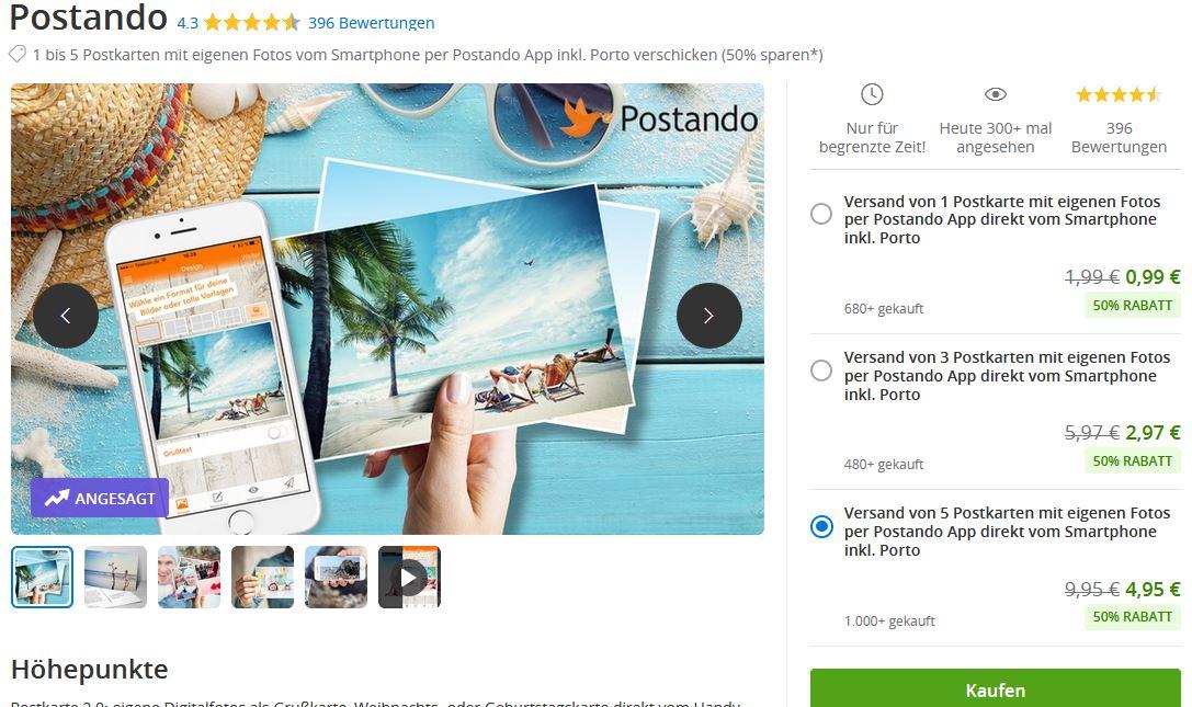 5 Postando Postkarten für 4,95€ statt 9,95€ (mit Shoop.de nur 3,96€)