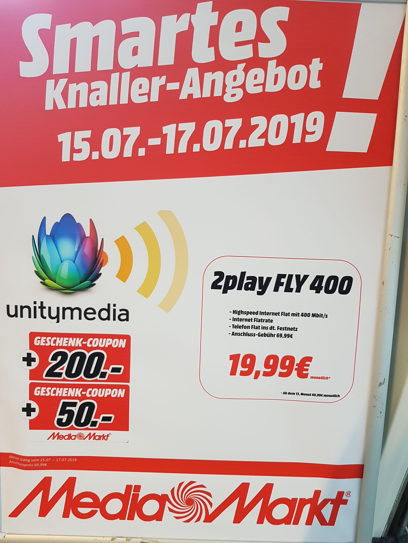 *Werbung wegen Namensnennung* Unitymedia 2 Play Fly 400 Angebot und 250€ Media Markt Coupon sowie ohne Aktivierungsgebühr am 16.07.19