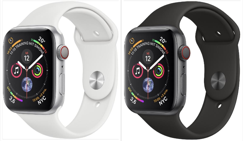 Apple Watch Series 4 GPS Cellular LTE 40mm schwarz o. weiss mit Sportarmband für 383,44€ inkl. Versandkosten mit Prime