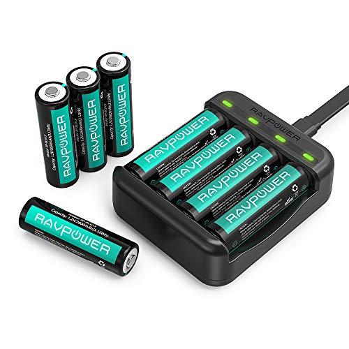 RAVPower Batterieladegerät Akku Ladegerät USB für AA/AAA und AA Batterien NI-MH (1.000 Zyklen, 8er Pack, 1,2V 2600mAh) [Amazon Prime Day]
