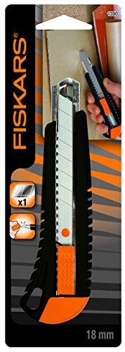 Fiskars Cuttermesser mit Metallführung, 18 mm, Orange/Schwarz, als Amazon Plus Produkt