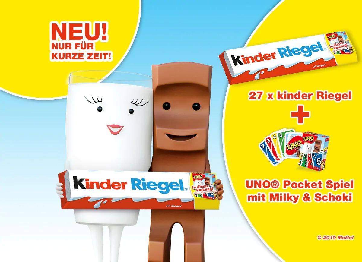 [NETTO Hund] XXL Kinder Riegel (27x21g = 567g) + 1x UNO Pocket Spiel für 8€