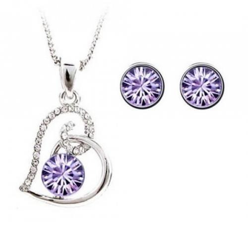 """Schmuckset mit einer Herz-Halskette und einem Paar Ohrringe mit Swarovski-Elements-Kristallen besetzt von """"sunshine-diamonds"""" für 19,95€ (Versandkostenfrei)"""