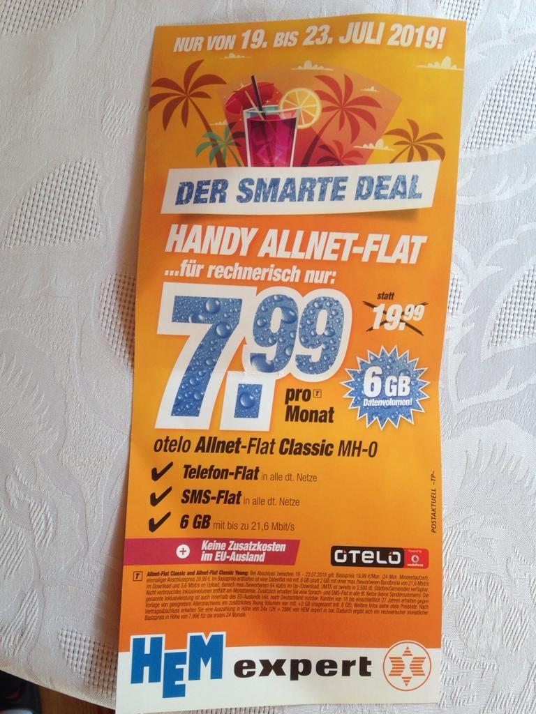 [HEM Expert] Otelo All-Net Flat 6 GB LTE (8 GB für Young) für 7,99€ monatl. im Vodafone Netz