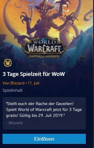 World of Warcraft (WoW) 3 Tage Gratis Spielzeit Battle.net für NICHT Abonennten