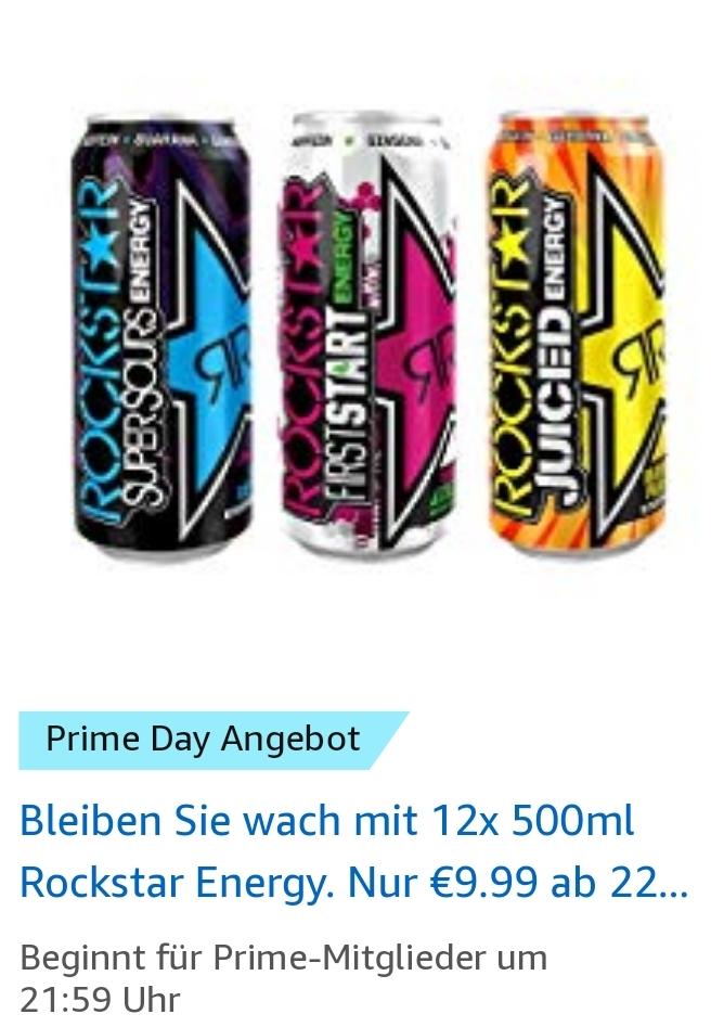 12 x  500 ml Dose Rockstar Energy Drink- 15 versch. Sorten - für 9,51 € (zzgl. 3 €  Pfand) @ amazon Prime Day