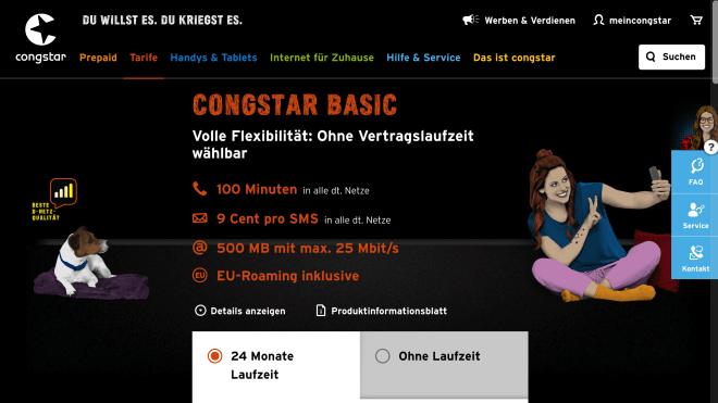 """UPDATE: Ab Ende August auch für Prepaid """"Wie ich will""""-Tarife - Congstar / D1-Netz: LTE25-Option für 1€/Monat für Tarife Basic und Smart"""