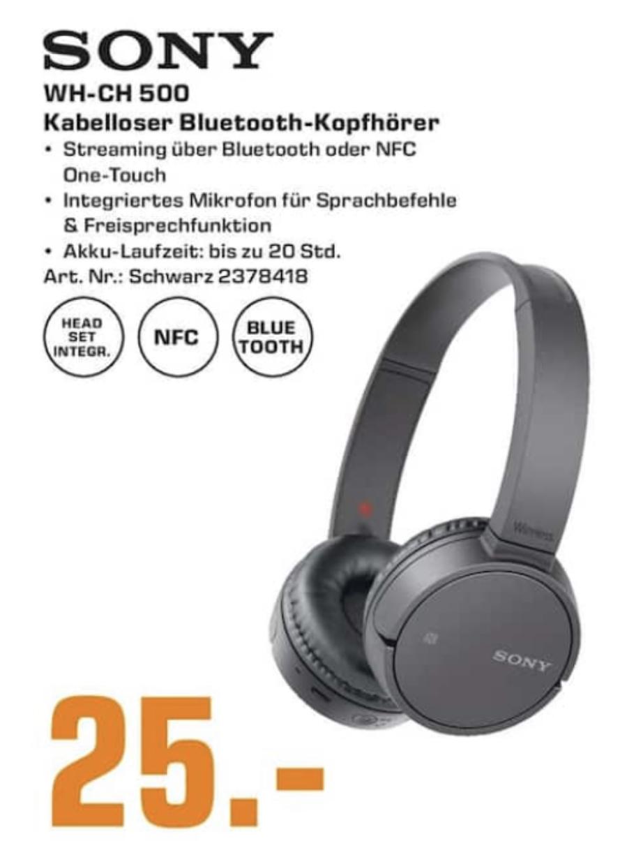 Lokal Saturn Karlsruhe usw.: Sony WH-CH500 kabelloser Bluetooth Kopfhörer NFC für 25€