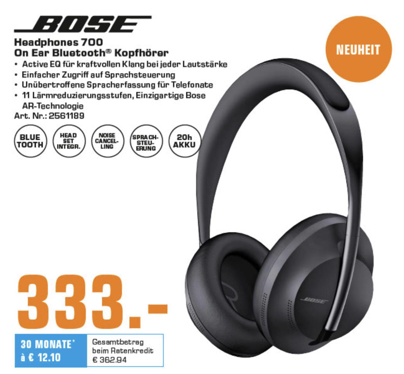Lokal Saturn Frankfurt/Main usw.: Bose Noise Cancelling Headphones 700 -neues Modell- für 333€