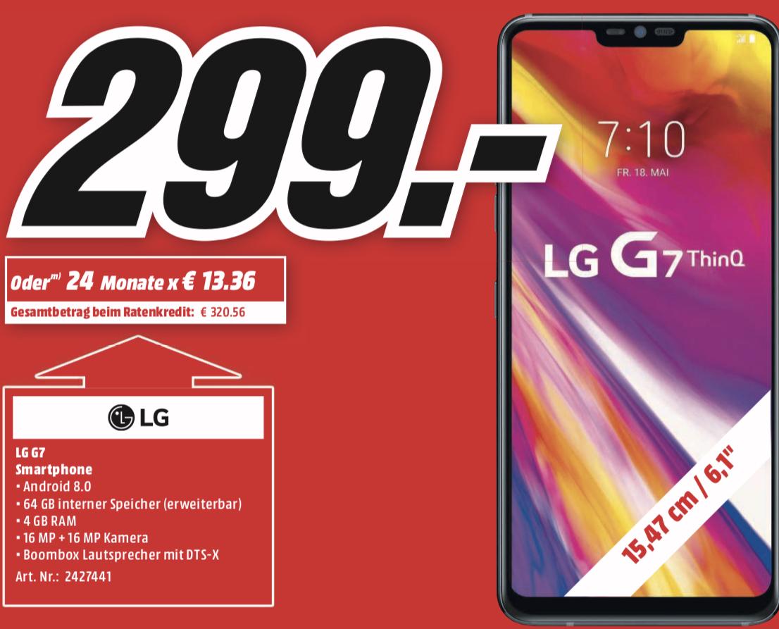 "[Lokal: Media Märkte Köln] LG G7 ThinQ 6.1"" Smartphone (Android 8, 64GB, 4GB RAM, NFC, aptX HD, IP68, 3000mAh) Aurora Black"