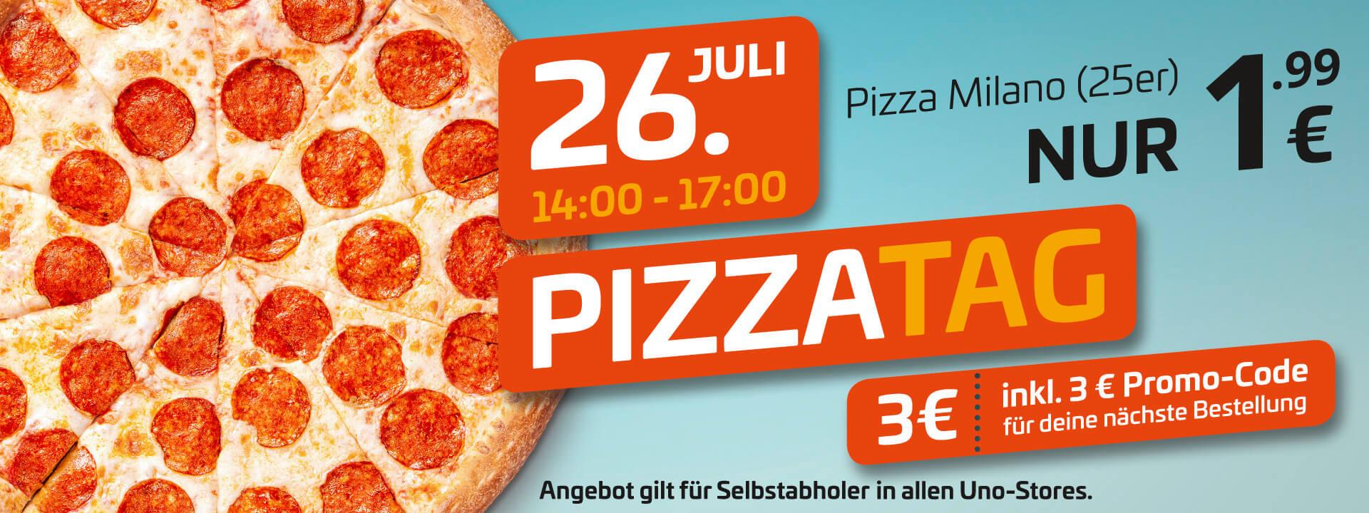 [lokal Magdeburg, Halle, Leipzig, Merseburg] uno Pizza Milano classic S (25 cm) + 3 € Promo-Code am Freitag, 26.7. von 14-17 Uhr für 1,99 €