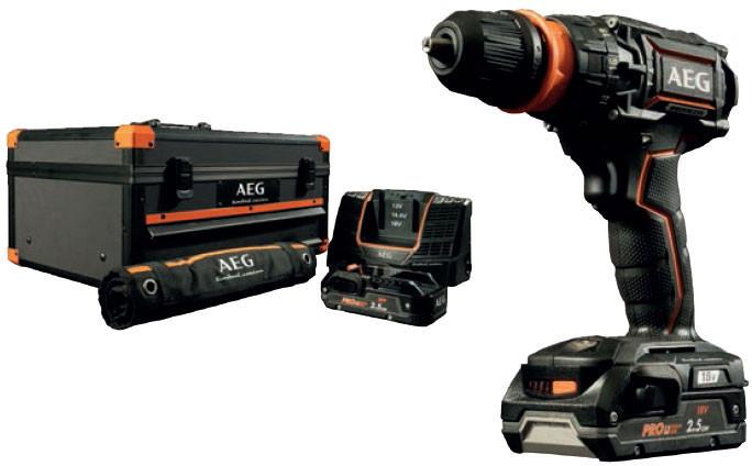 Bürstenloser Akku-Kompakt-Schlagbohrschrauber AEG BSB18CBLLELI-252X (2x 2,5Ah-Akkus, Schnellladegerät, Koffer, 100-teiliges Zubehörset)