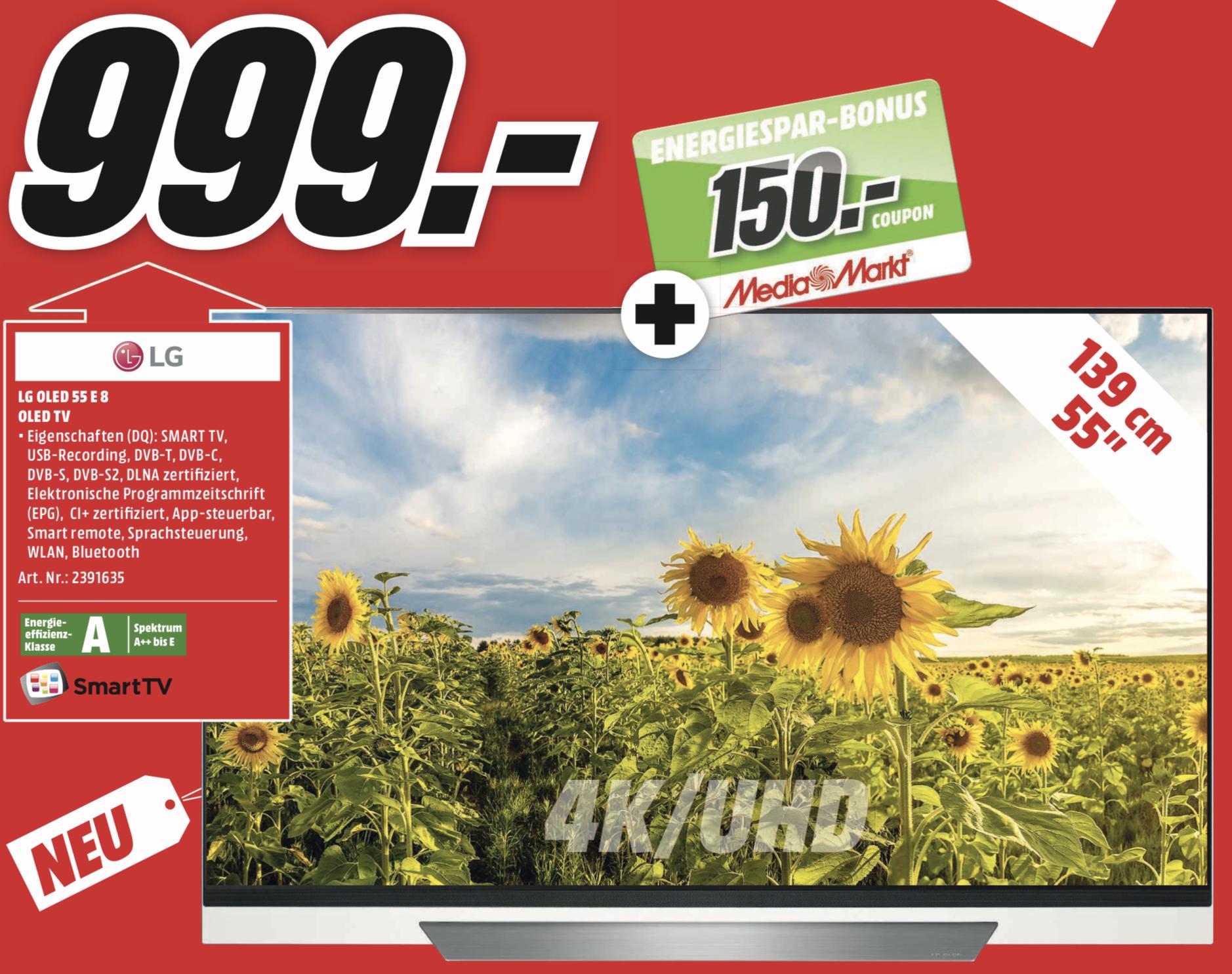 Lokal MediaMarkt Main-Taunus: LG OLED55E8LLA OLED 4K UHD TV 55 Zoll 139cm für 999€ + 150€ Coupon!