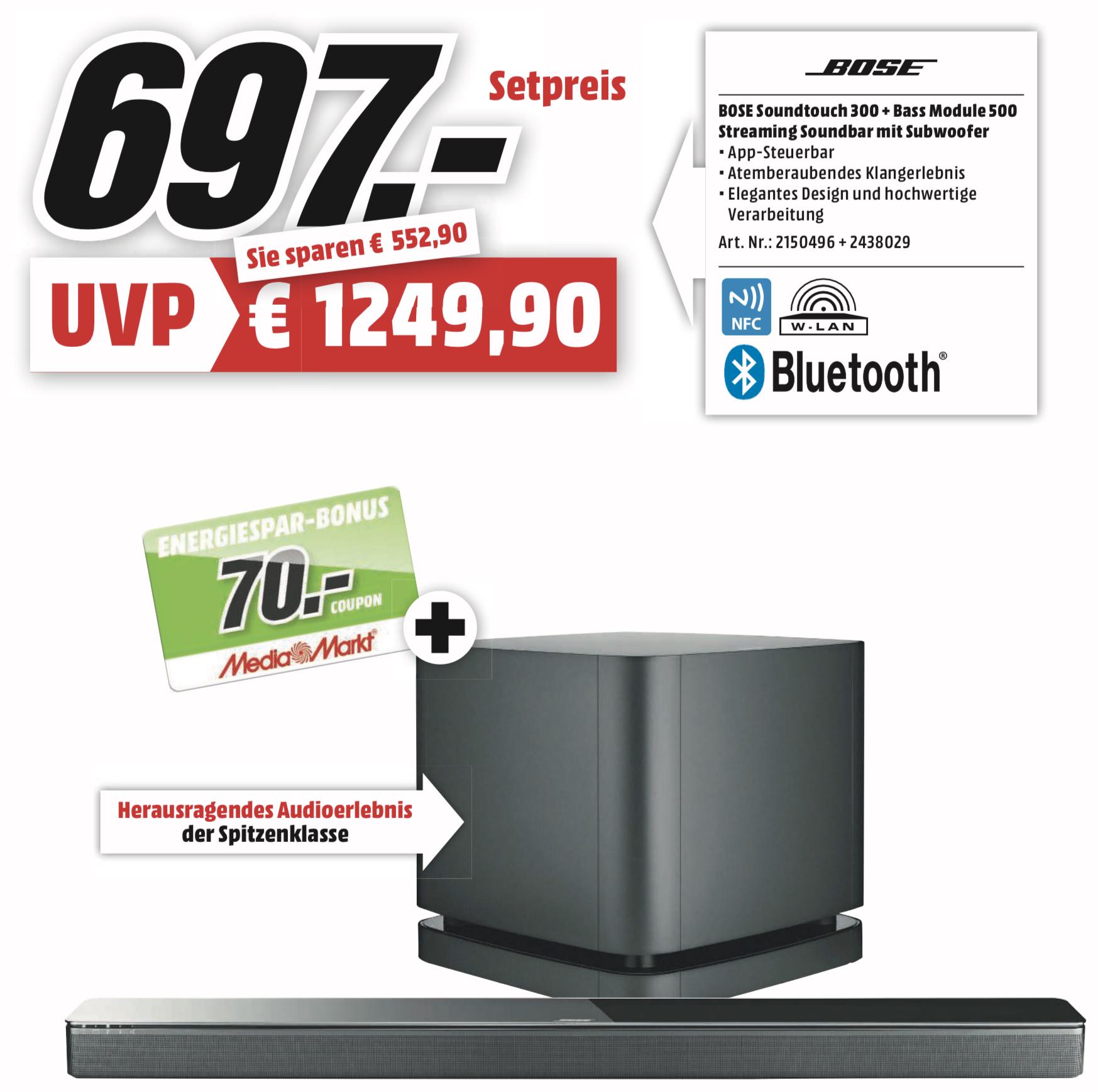 Lokal MediaMarkt Gründau-Lieblos: BOSE Soundtouch 300 + Bass Module 500 Streaming Soundbar mit Subwoofer für 697€ + 70€ Coupon!