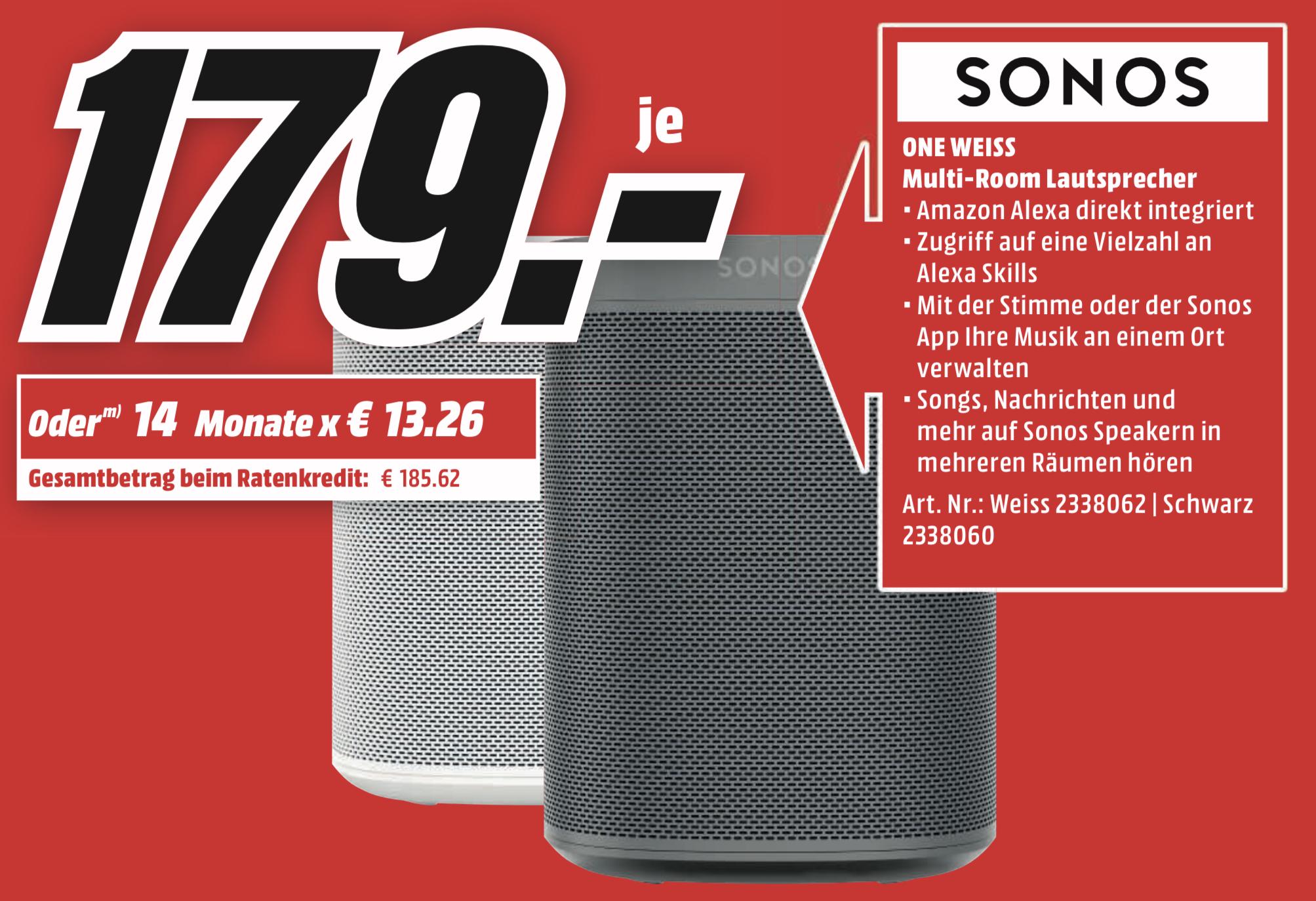 Lokal MediaMarkt Koblenz u. Neuwied: Sonos ONE (1. Gen) für 179€ - nur am Freitag den 19.07.!