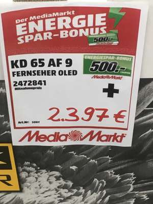 [Lokal] Media Markt Stade Sony KD65AF9 OLED TV inkl. 500 Euro Coupon