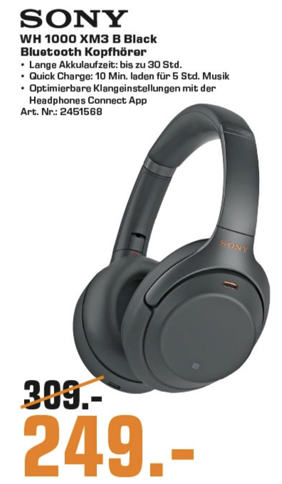 Lokal Saturn Krefeld, Moers, Mönchengladbach: Sony WH-1000XM3 Noise Cancelling Kopfhörer für 249€