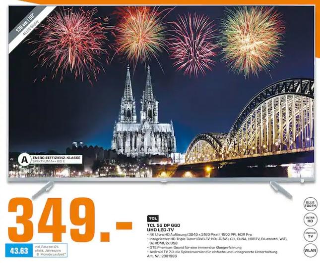 [Lokal Saturn Köln]  TCL 55DP660 (55 Zoll) Fernseher (Ultra HD, Triple Tuner, Smart TV) 4K