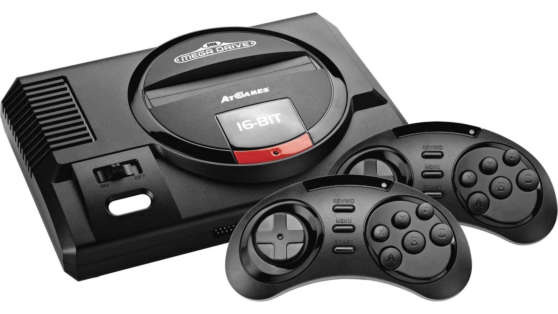 Retro-Konsole Sega Megadrive Flashback HD (720p-Auflösung, 2x Wireless Controller, Modulschacht, 82 Spiele, Speicher- & Rewind-Funktion)
