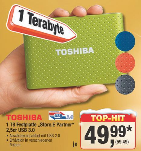 """[Metro ab 6.12.]  1TB Festplatte Toshiba """"Store.E Partner"""" 2,5er USB 3.0"""