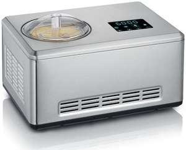 Severin EZ 7405 Eismaschine mit Joghurtfunktion (180W, 2l Fassungsvermögen, Kompressor, digitaler Timer & Temperaturanzeige, Deckelöffnung)