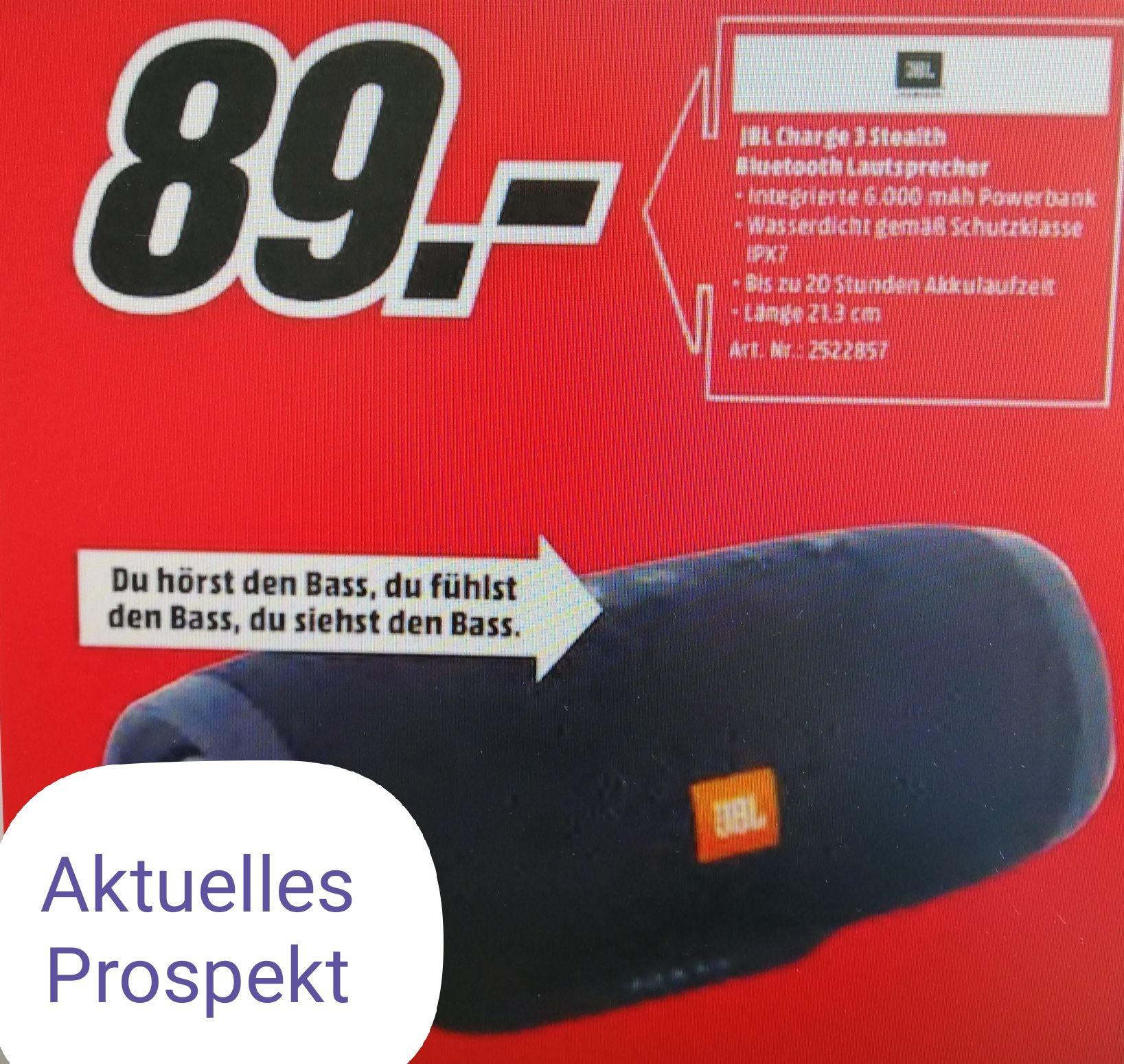 Lokal: Media Markt Mainz, Alzey, Bischofsheim. JBL Charge 3 Stealth Bluetooth Lautsprecher.