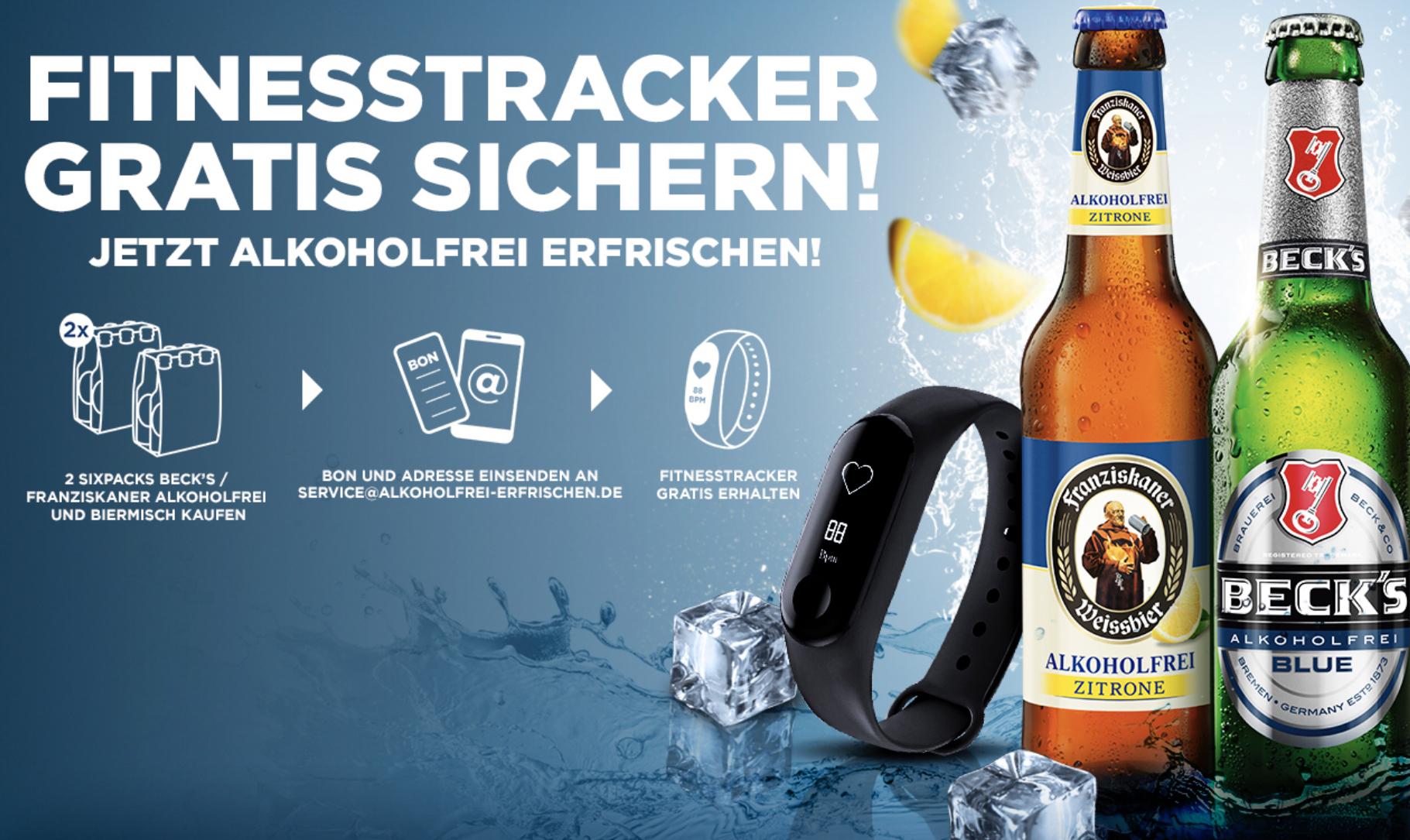REWE: 2 Sixpacks Beck's/Franziskaner Alkoholfrei kaufen und GRATIS Fitnesstracker erhalten! - vom 29.07. - 05.08.