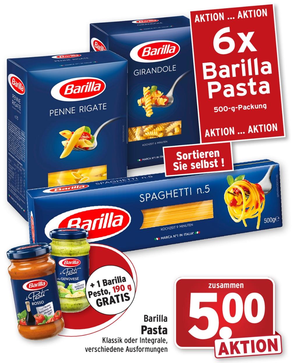 [Wasgau] 6 Packungen Barilla 500g Pasta + 1 Barilla Pesto Glas