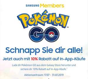 Samsung Members app Pokemon Go 10% Rabatt auf in App käufe