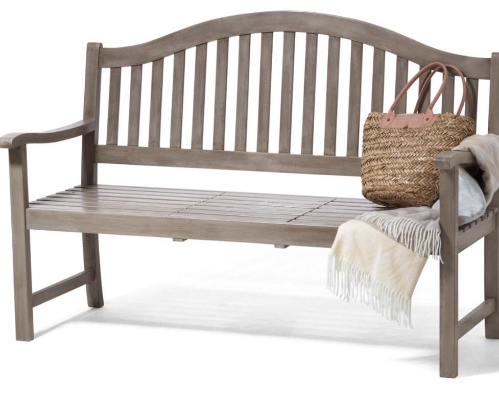 3-Sitzer Gartenbank Bank grau mit hochklappbarem Tisch Sitzbank Massiv Vintage Grey für 129,99€ inkl. Versand