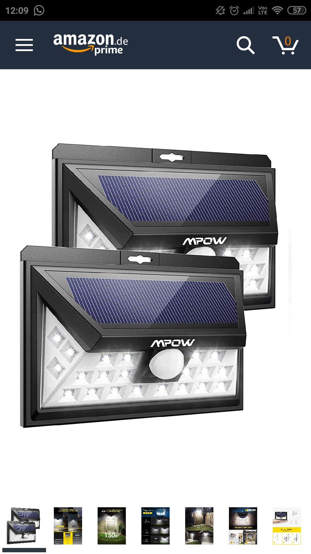 [Amazon] 2er Set Mpow 24 LED Weitwinkel Solaraußenleuchte mit 3 Modi und IP65
