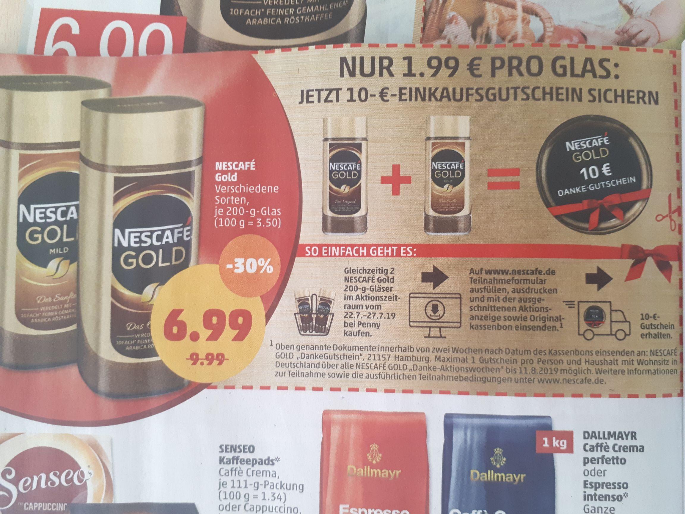 (Penny) 2 Nescafé Gold kaufen (13,98€+80ct Porto) und 10€ Einkaufsgutschein erhalten
