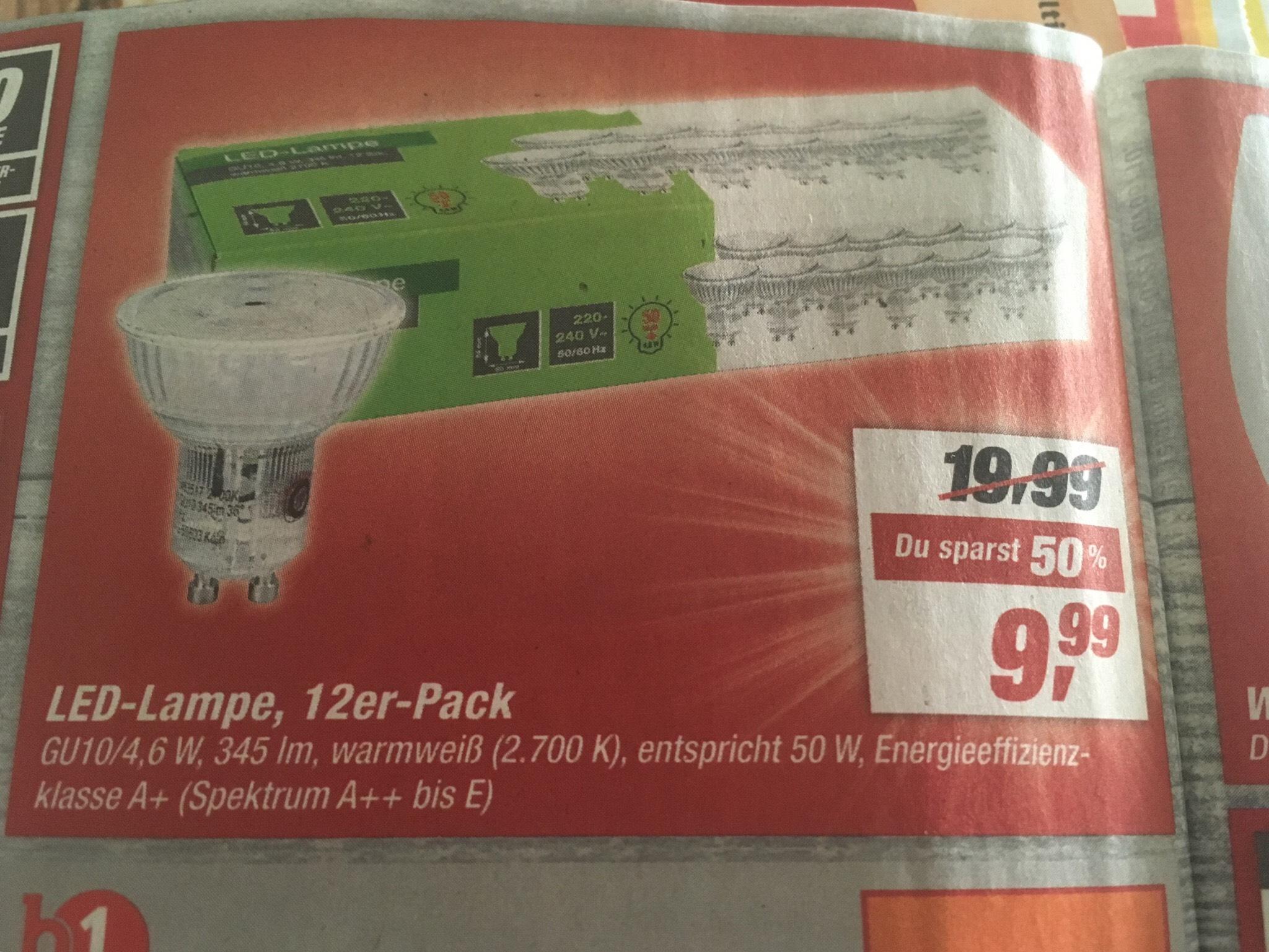 LED-Lampe 12er Pack GU10 - Warmweiss [Toom]