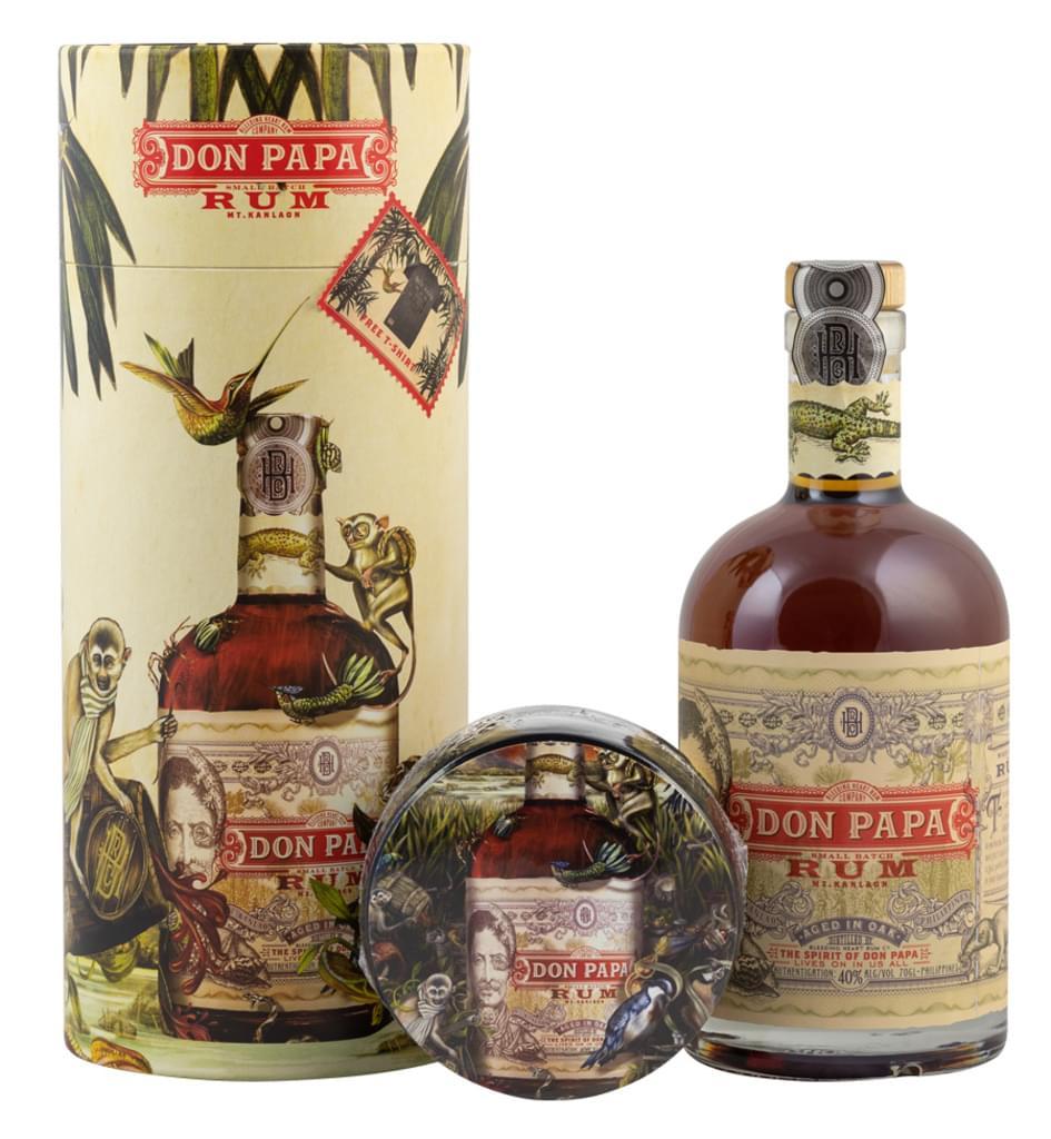 Don Papa Rum 0,7l 40% + T-Shirt (Größe L) bei [Real.de]