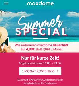 Maxdome Summer Special Streamingdienst