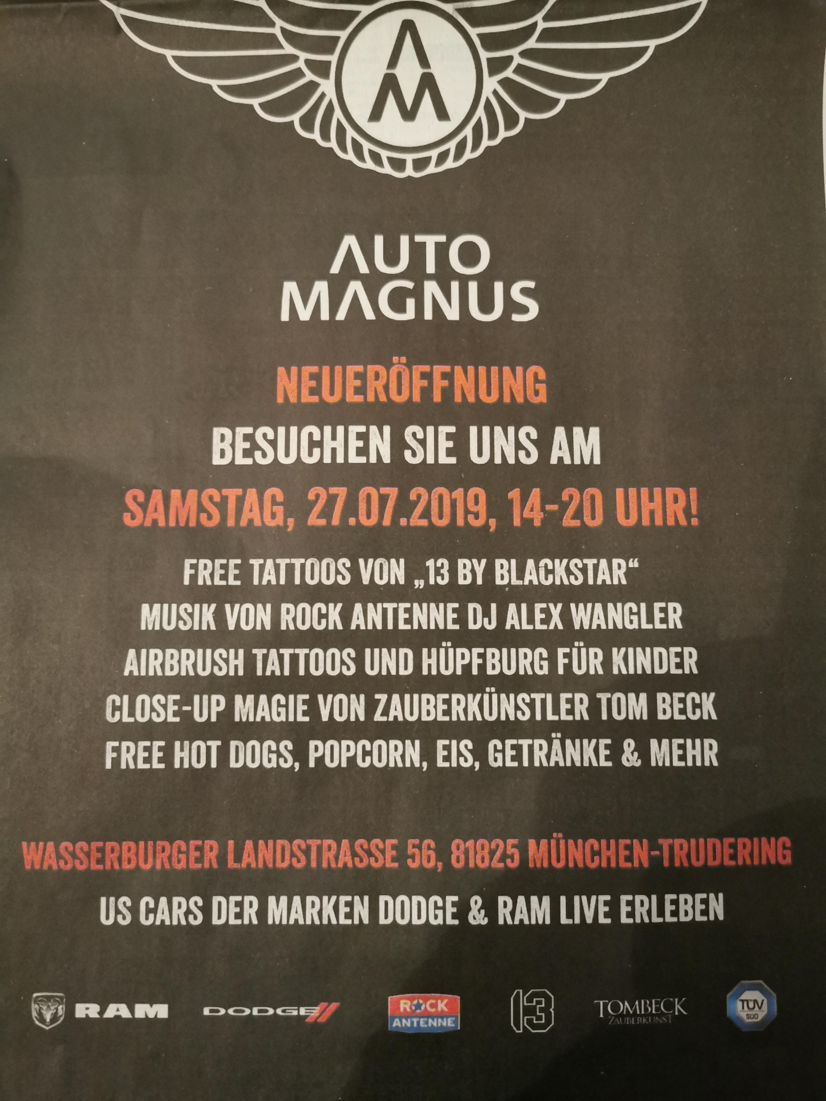 [ München ] Kostenlose Hot Dogs, Eis und Getränke am 27.07. @ Auto Magnus
