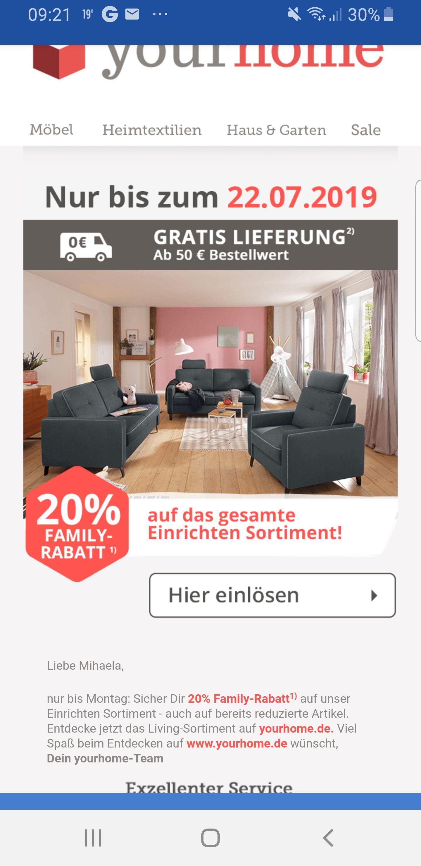 Yourhome 20% Family-Rabatt auf unser Einrichten Sortiment