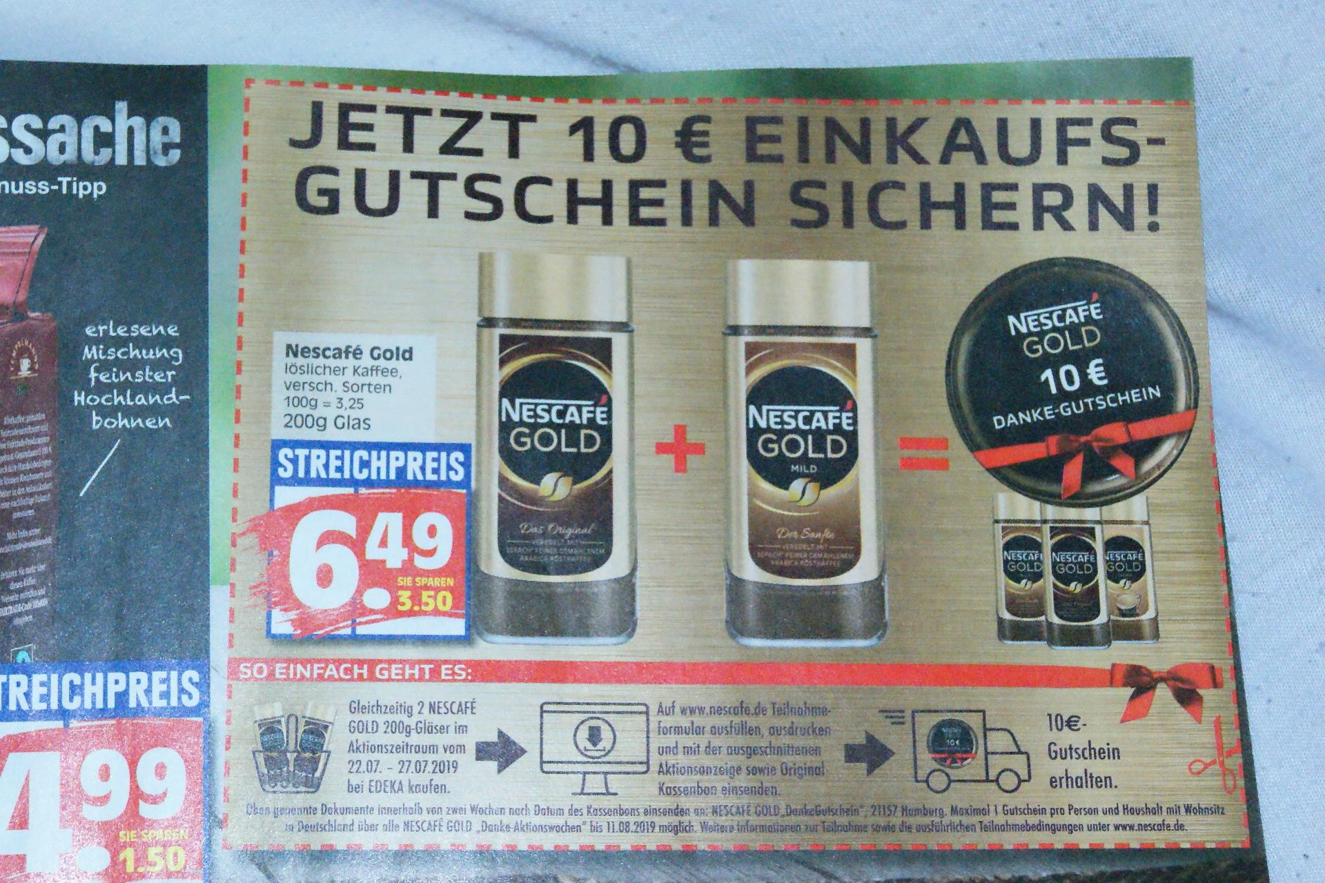 2x Nescafe Gold Kaffee + 10 Euro-Gutschein für EDEKA für 13,78 Euro bei EDEKA
