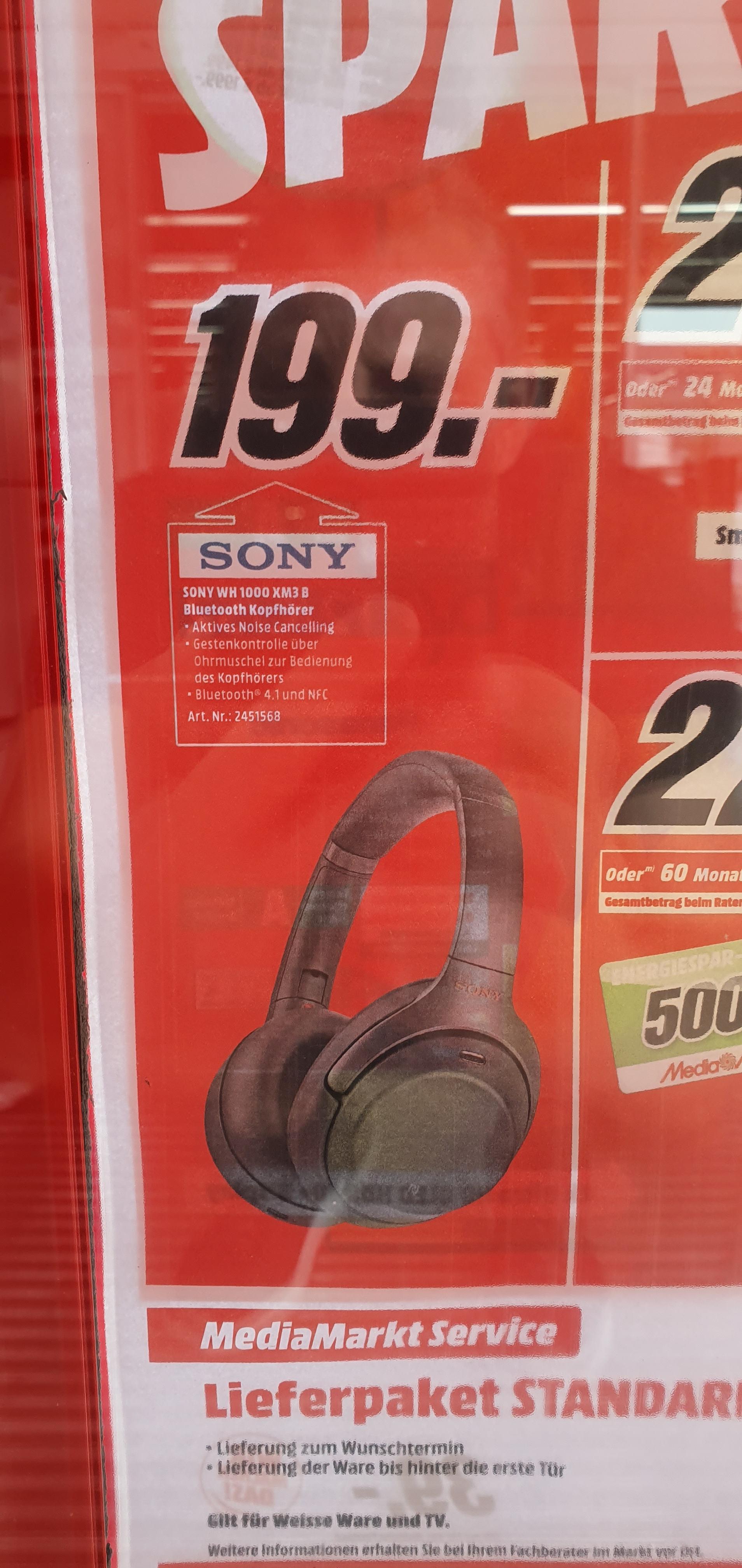 Regional Mediamarkt  PortaWestfalica- Sony WH-1000XM3 schwarz für 199€