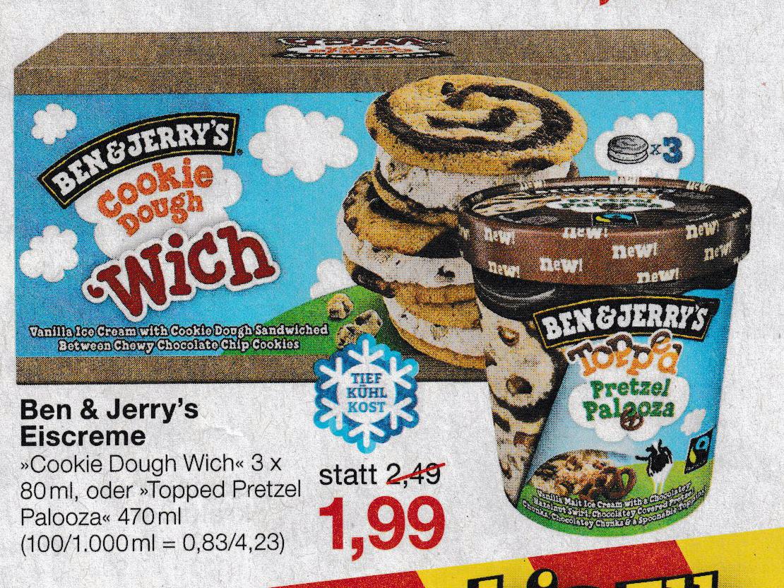 Ben & Jerry's Topped Pretzel Palooza (470ml) und Cookie Dough 'Wich (3x80ml) Eis | Jawoll