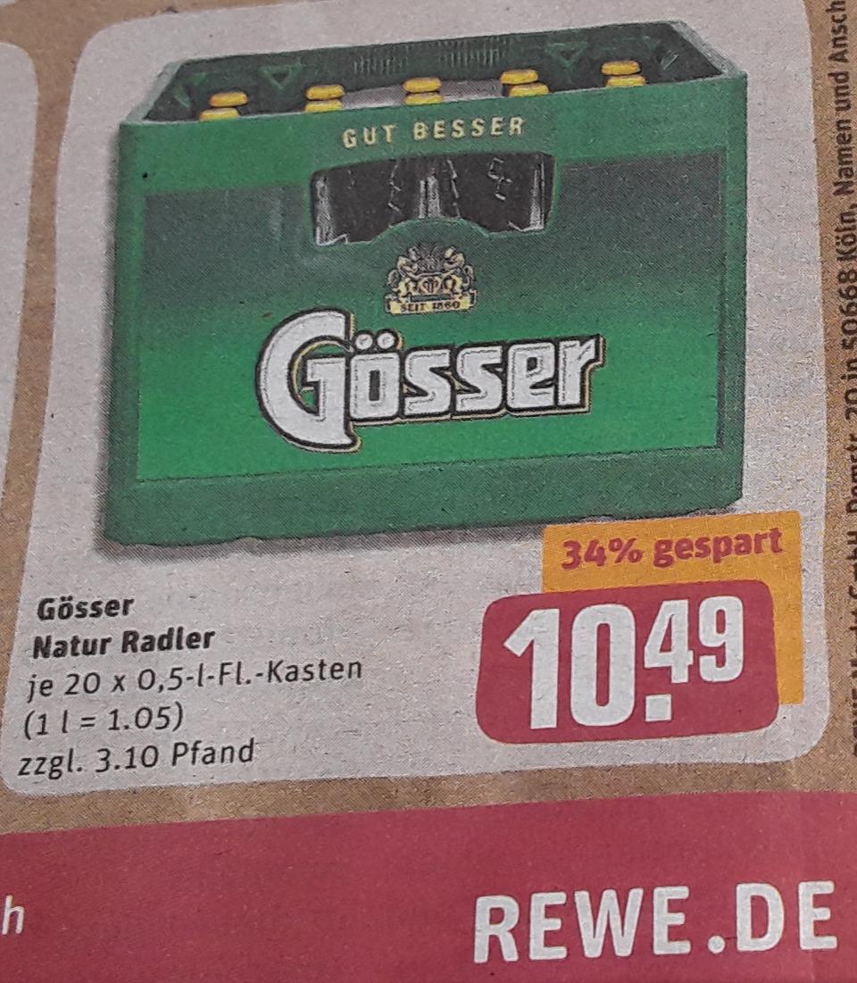 (Lokal) Gösser Natur Radler - 20x 0.5l FL. Kasten- für 10.49 € (zzgl. 3.10 € Pfand) @ Rewe Center Umland MUC ab 22.07.