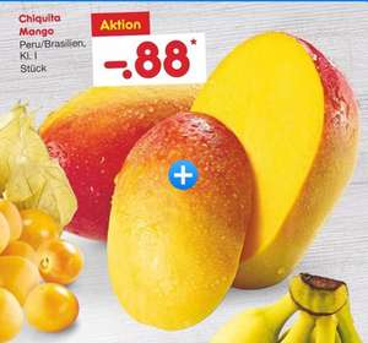 Chiquita Mango Kl.1, Netto Marken-Discounter nur noch heute für 88 Cent