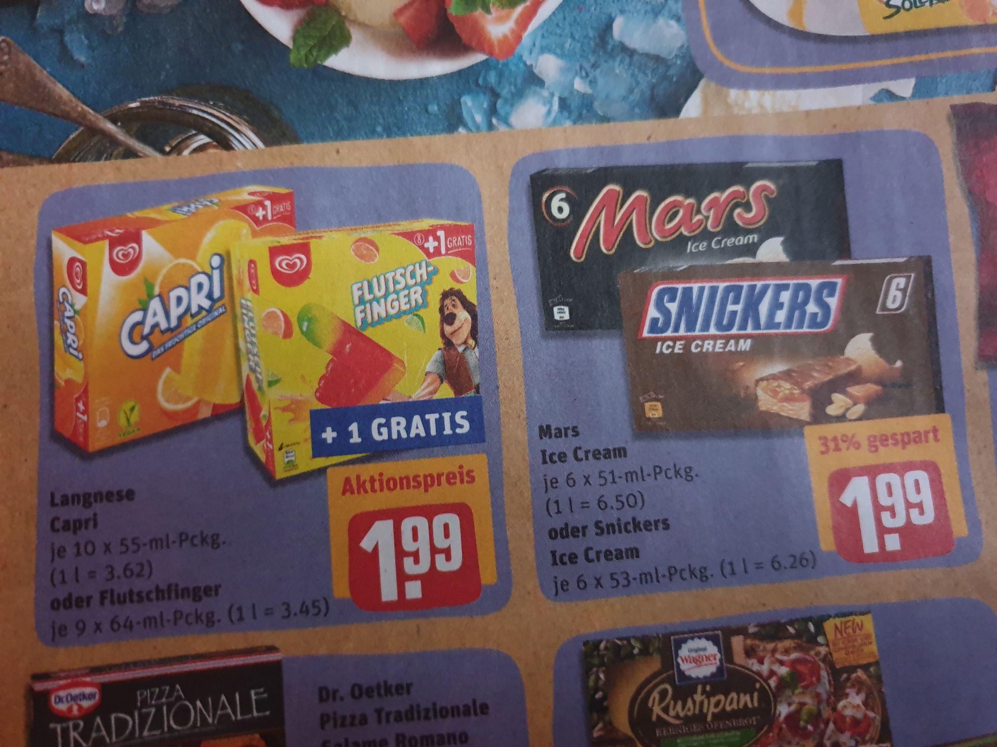 (Rewe) Langnese Eis Capri o. Flutschfinger + 1 gratis und Mars o. Snickers-Eis für 1,99€