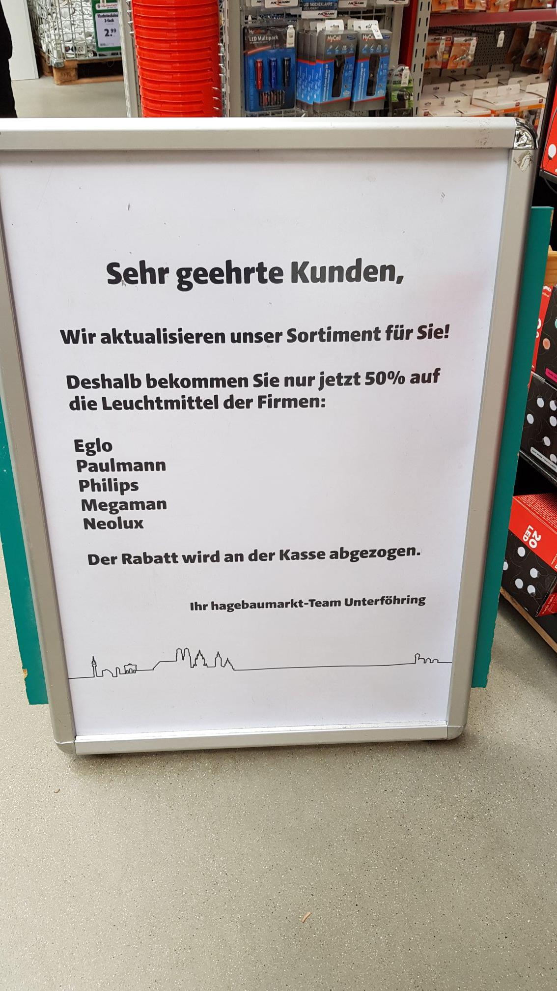 (Lokal München) 50% auf Leuchtmittel / LED im Hagebaumarkt Unterföhring