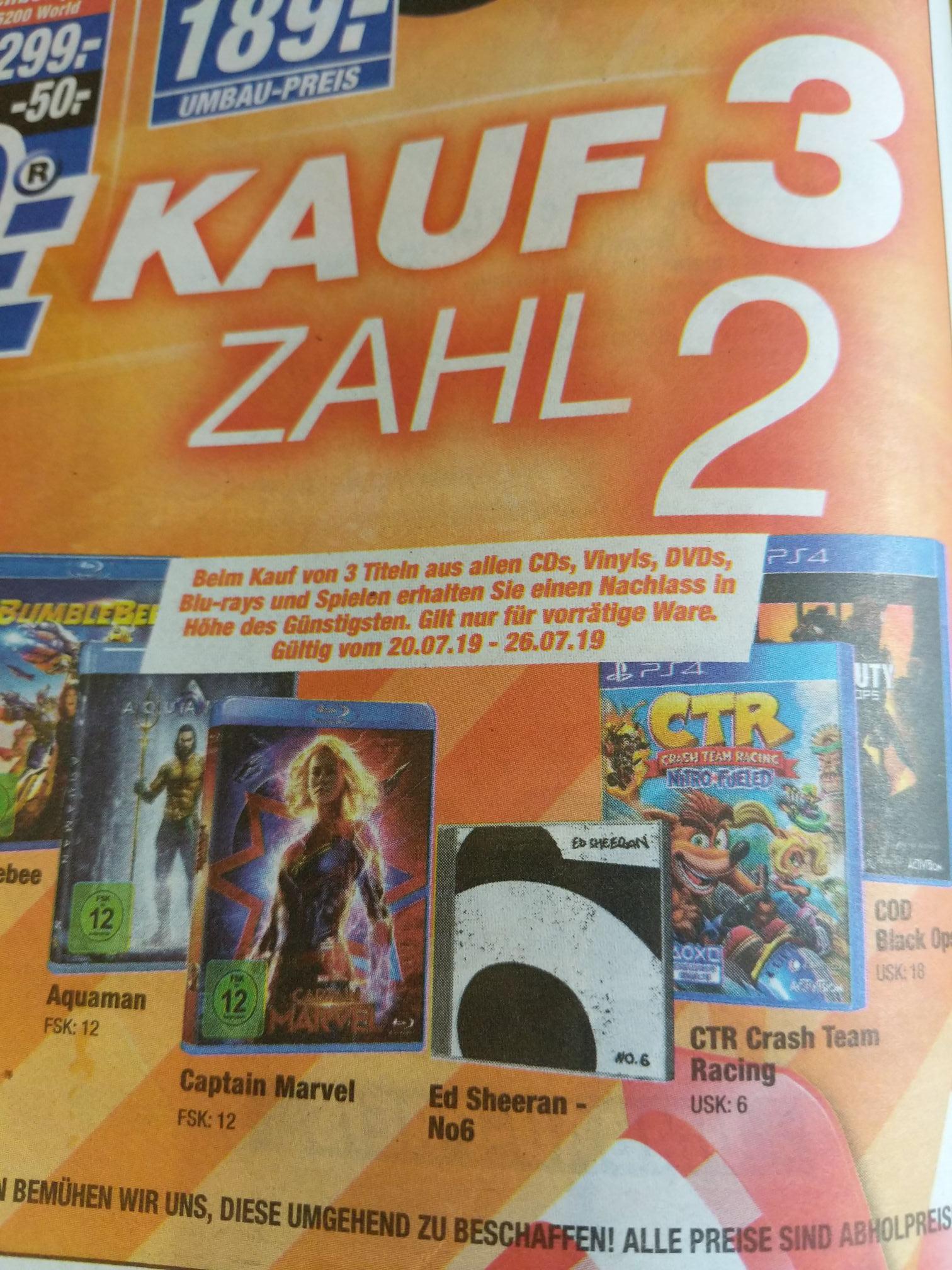[Lokal Hannover Langenhagen] 3 für 2 auf alle Medien
