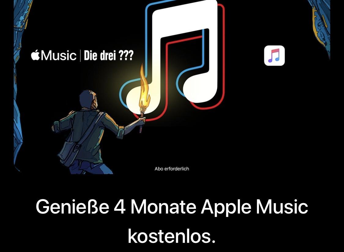  Apple Music 4 Monate gratis testen (Neukunde), 1 Monat gratis für Bestandskunden