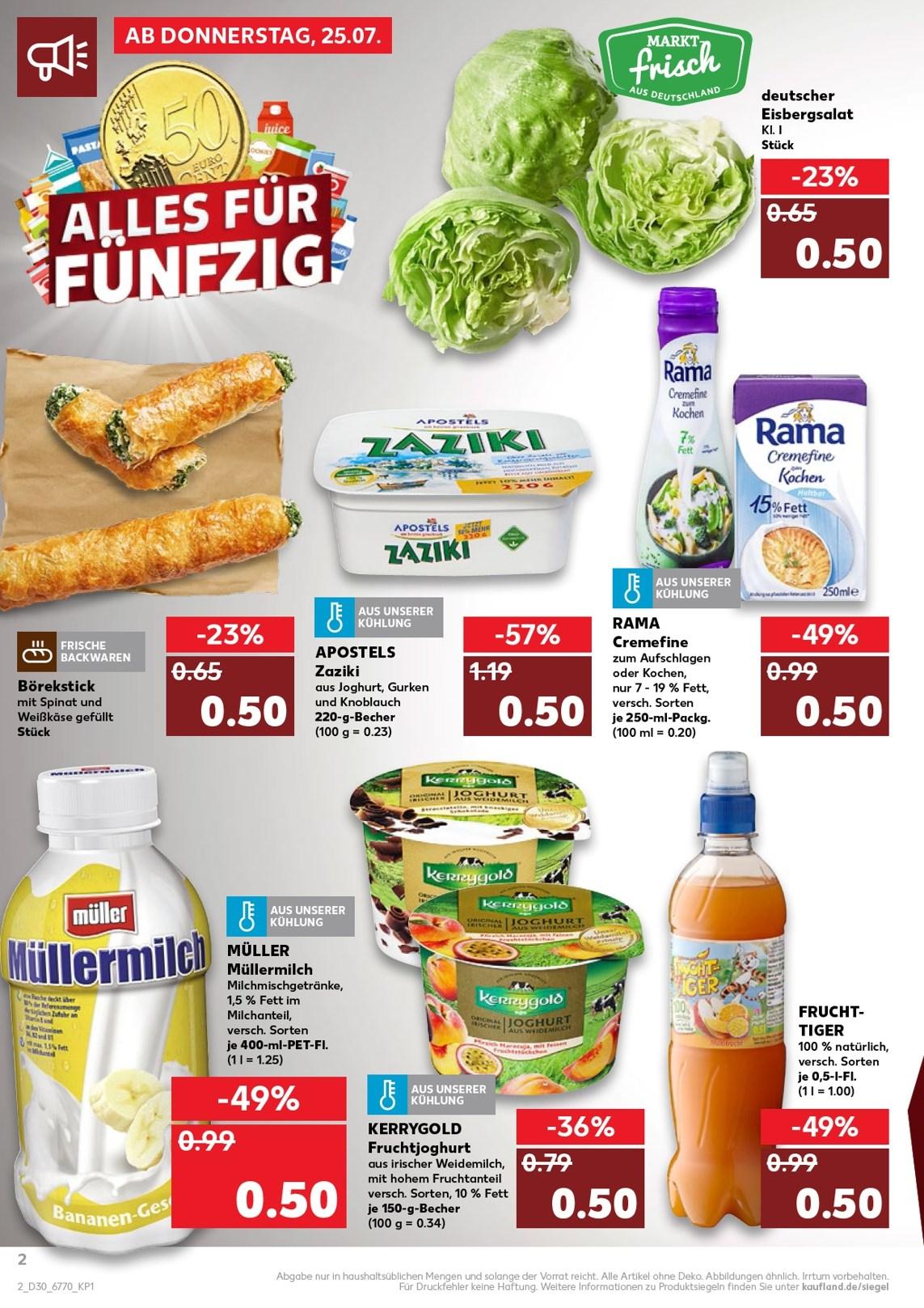 Kaufland Müllermilch 400ml PET 0,50€