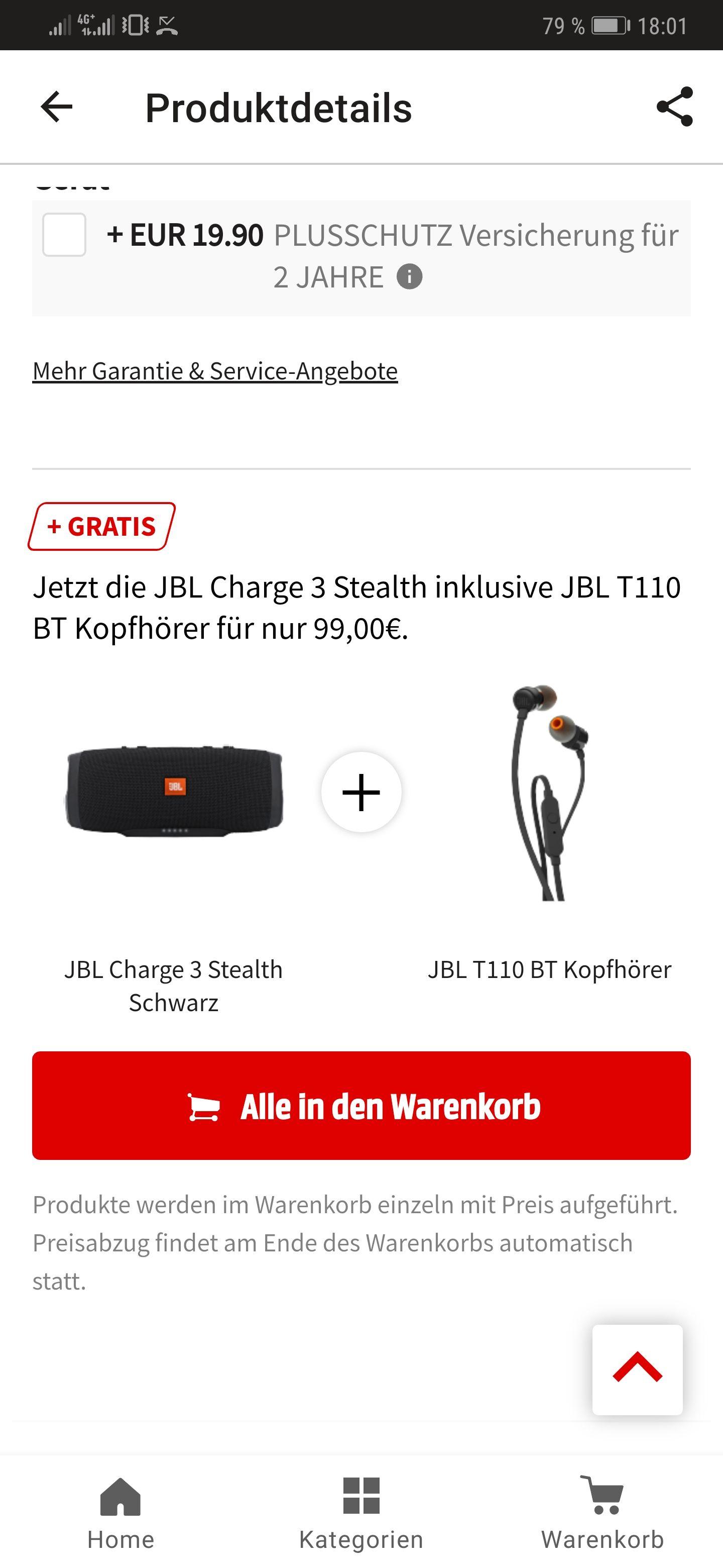 JBL Charge 3 + gratis JBL T110 BT Kopfhörer