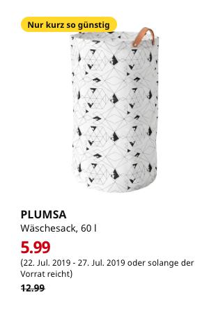 (IKEA Bremerhaven) PLUMSA Wäschesack, weiß, schwarz, 60 l